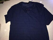 NWT Forever 21 Men's Blue Short Sleeve Henley Shirt Sz XL