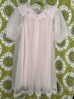 1960's SHADOWLINE Peignoir Set Nylon Chiffon Lace Vintage M Nightgown Robe MCM