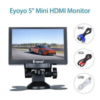 "Eyoyo 5"" Small HDMI VGA BNC Monitor 800x480 Car Rear View Security 16:9 for PC"