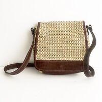 Vintage Women's Brown Crossbody Shoulder Bag Rattan Wicker Woven Purse