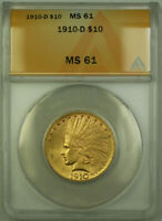 1910-D Indian Gold Eagle $10 Coin ANACS MS-61