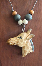 "Giraffe Necklace Quality Hand Carved Wood Painted Pendant Beads Max 15"" Cord"