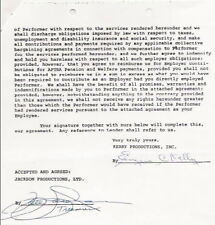 GENE KELLY original signed contract