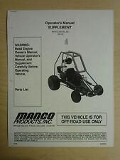 Manco Model 392-00 Go Kart Parts List Operators Manual Cart
