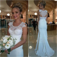 Sexy White Sheath Lace Beaded Sequins Satin Wedding Dresses Bridal Gowns 2018