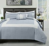 Forter 5pc Comforter Set, Stone Blue, Ivory Stirpe Bedding, All size Bed Cover