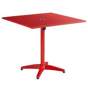 """36"""" x 36"""" Square Red Aluminum Garden Patio Dining Table with Umbrella Hole"""