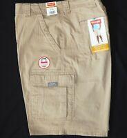 Mens Wrangler Flex Cargo Shorts Relaxed Fit w/ Tech Pocket Khaki ALL SIZES 34-52