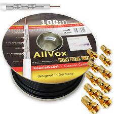 Sat Kabel 100m Vollkupfer SCHWARZ 135dB 5-Fach Klasse A+ reines Kupfer max 150db