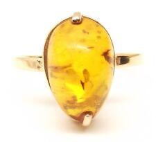 Vtg 14K Gold Russian Baltic Amber Ring Sz 9.25 Rose Gold Cabochon Honey Estate