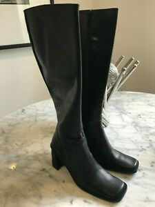 Women's Bebe Black Leather Knee High Boots.Size 5.5 M. Excellent.