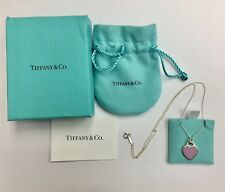 """Tiffany & Co Pink Heart Tag Charm With 18"""" Sterling Silver Chain"""
