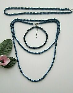 Faceted Blue Kyanite  Agate Abacus Beads Necklace Long, Choker or Bracelet.