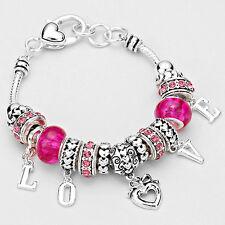 Love Bracelet Charm Sliding Bead Heart Theme SILVER Valentines Hugs Kisses Gift
