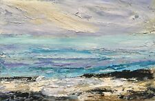 ORIGINAL SIGNED IMPRESSIONIST ABSTRACT ROCKS WAVES SEA OIL PAINTING ON CANVAS