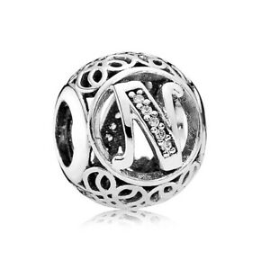 S925 Sterling Silver EURO  Charm Vintage Alphabet Letter N Jewelicious Designs