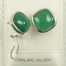 Solid Sterling Silver .925 Omega Back Square Shaped Green Agate Earrings TP