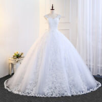 White/Ivory Appliques Tulle Princess Wedding Dress A Line Corset Bridal Gown New