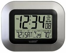 Atomic Digital Wall Clock Wireless Outdoor Indoor Temperature Sensor Monitor