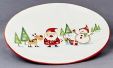 Christmas Tableware Ceramic Santa And Friends Oval Serving Plate Platter NEW