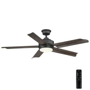 Hansfield 56 in. LED Outdoor Natural Iron Ceiling Fan with Remote Control Home