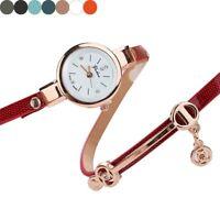 Fashion Womens Girl Ladies Stainess Crystal Leather Bracelet Quartz Wrist Watch