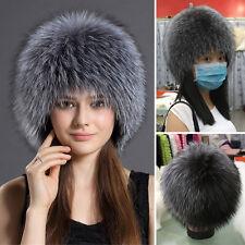 New Genuine Silver Fox Fur Hat Winter Women Fashion Fur Cap Best Xmas Gift