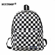 School Bag Backpack Multifunction Checkered Large Capacity Student Travel Women