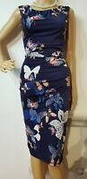 PHASE EIGHT RUCHED BUTTERFLY PRINT DRESS UK 8 US 4 BLUE 92% POLYESTER 8% ELASTAN