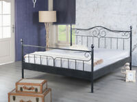 Bettgestell Doppelbett Metallbett Bettrahmen VIRGINIA 160x200 schwarzsilber NEU