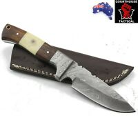 Handmade Hunting Knife, Damascus Blade, Walnut Wood & Bone Handle Leather Sheath
