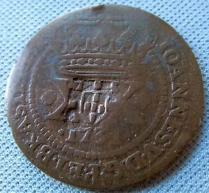 1731 Colonial Brazil Portugal 20 XX Reis Old Coin John V Sun King Counterstamped