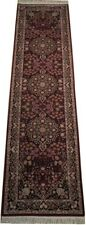 2 ft 6 in x 10 ft Burgundy Traditional Luxuriant 32 x 120 in Silk and wool