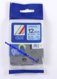Laminated Brother P-Touch TZe-531compatible12mmx8m Black-On-Blue Tape
