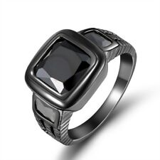 18K GOLD EP 2.5CT BLACK  EMERALD CUT MENS RING size 8-12