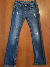 LA IDOL Distressed Destroyed Jeans size 3 x 31 Embellished Pockets Crystals Boot