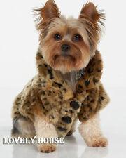 LUXURY Pet Dogs Coat Leopard Faux Fur Jacket Winter Clothes Size S-XL