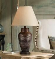 Modern Table Lamp Rustic Hammered Bronze Metal Vase for Living Room Bedroom