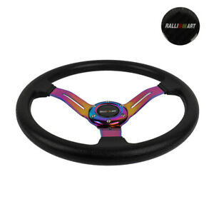 "14"" JDM Racing Ralliart Style Neo Chrome Sport Steering Wheel With Horn Button"