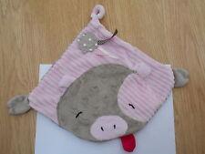 DOUDOU plat cochon rose brun de Domitille petits Dom