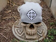 celtic cross 2 color gray embroiderd beanie hat thors hammer asatru norse