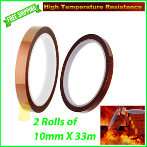 2 Rolls HEAT RESISTANT Tape Sublimation Press Transfer Thermal Kapton 10mm 33m