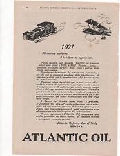 Pubblicità epoca 1927 ATLANTIC OIL AUTO OLIO old advert werbung publicitè reklam