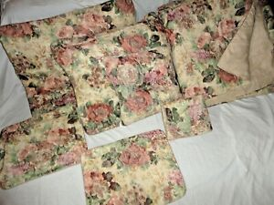 CROSCILL COTSWOLD CINNAMON GREEN CREAM FLORAL (7PC) KING/CAL KING COMFORTER SET