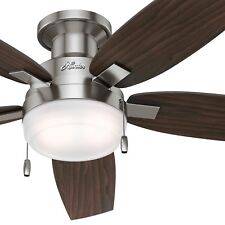 """Hunter 52"""" Low Profile Contemporary Ceiling Fan with LED Light in Brushed Nickel"""