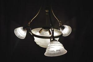 Vintage 1930s French Bronze Edgar Brandt style Art Nouveau snake chandelier