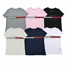 Tommy Hilfiger Para Mujer T-Shirt Tee Manga Corta Gráfico Logo Camiseta Casual De Algodón