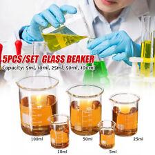 5/10/25/50/100ML Becherglas Messbecher Labor Borosilicatglas Becher 5stk/Satz DE