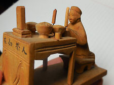 Chinese Ancestral Altar, Ancestor Worship Veneration Tiny Antique Wood Carving