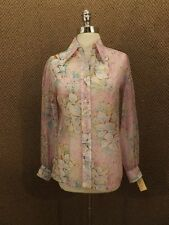 Lady Manhatton NOS NEW Vtg 60s SHEER Nylon ARTSY FLORAL WATERCOLOR SHIRT Sz 10
